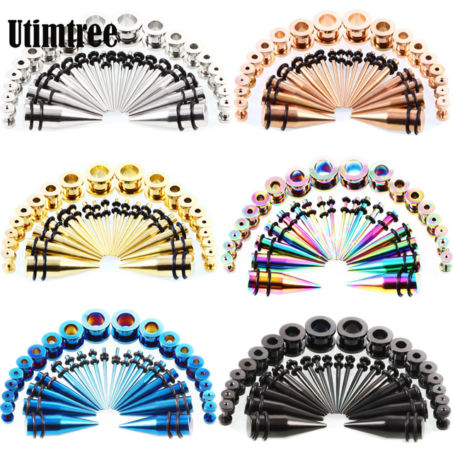 Utimtree Top Quality Stainless Steel Ear Taper Kit 14g 00g Stretching Set Plugs Tunnels Earring