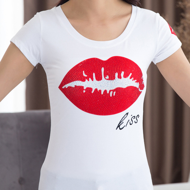 2017 New Summer 5XL 4XL 3XL XXL Red Kiss and Leisure t shirts for Women Plus Size Women Clothing Simple Slim T-shirt