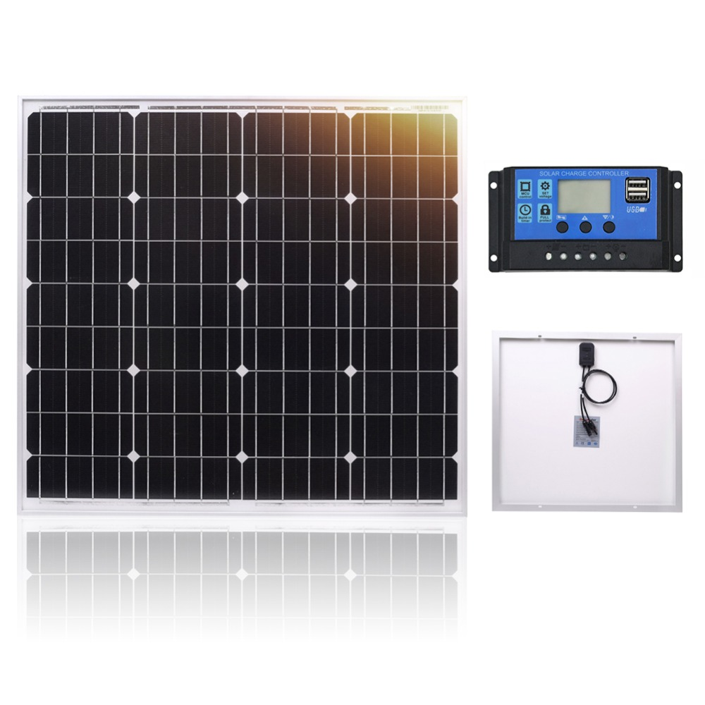 DOKIO 60W 18 Volt Small Solar Panel China 60 Watt Waterproof Panels Solar Sets Cell/Module/System/Home/Boat 10A 12/24V Controlle-in Solar Cells from Consumer Electronics