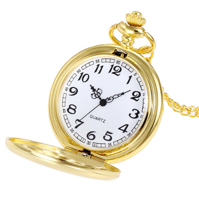 Gold/Black/Silver Pocket Watches Gifts Crown Unisex Fashion Bronze Chain Necklac