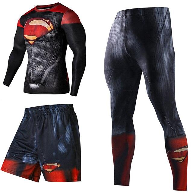 Super-héros De Compression Survêtements Hommes de Sport Costume À Séchage Rapide En Cours D'exécution ensembles Vêtements de Sport Joggeurs Formation Gym Fitness Homme Ensemble 3