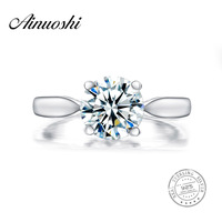 AINUOSHI Luxury 2 Carat Round Cut Sona Solitaire Ring Women Wedding 925 Sterling Silver Engagement Band Micro Pave Bridal Ring