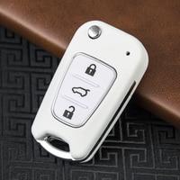 OkeyTech-carcasa de llave para coche KIA Sportage K2 K3 K5, carcasa de llave Fob sin llave, 3 botones, color blanco