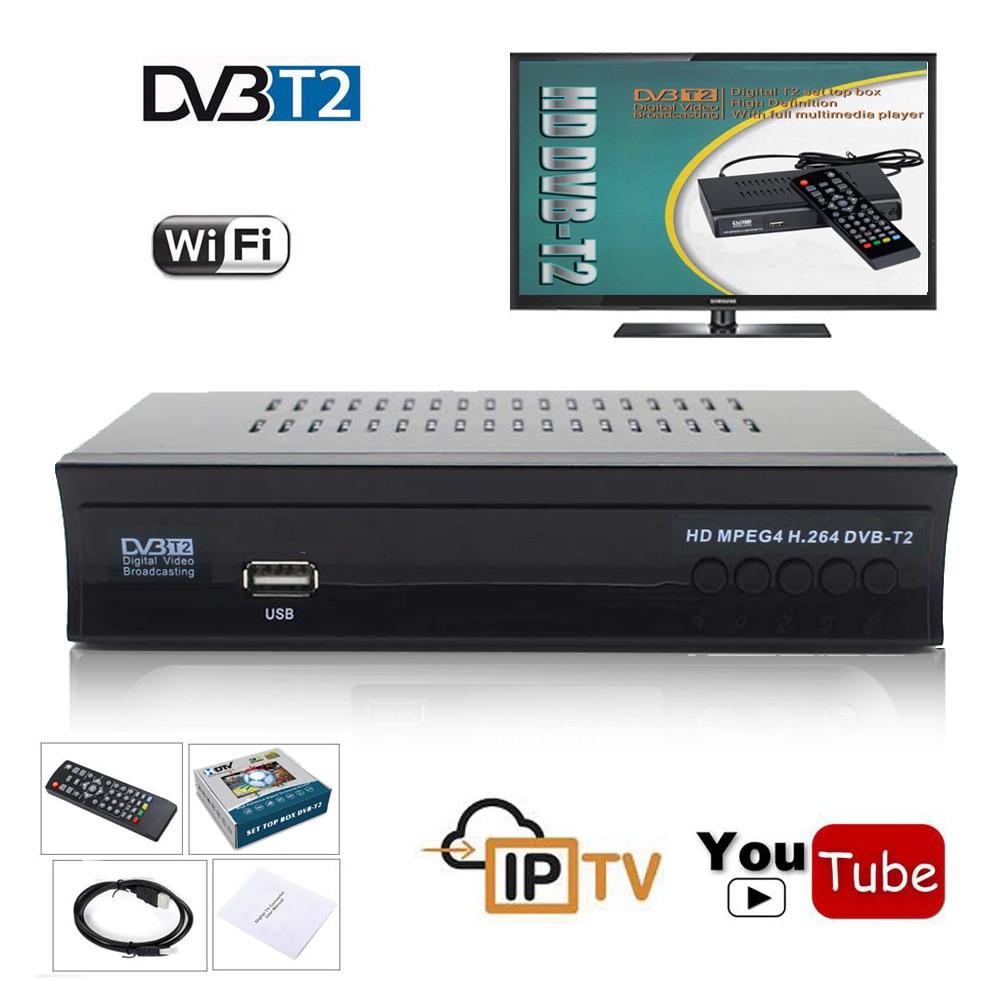 FTA Terrestrischen tv tuner dvb t2 Empfänger Konverter Digital DVB-T2 Rezeptor 1080 P DVB T TV Box Wifi youtube IPTV m3u Media Player