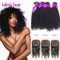 7a Mink Hair None Processing Indian Curly Hair with Closure 4 Bundles With Closure Indian Kinky Curly Virgin Hair With Closure