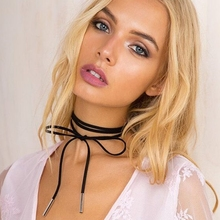 Elegant Fashion Women Statement Necklaces Faux Leather Long Rope Gold Tube Velvet Choker Collar Necklace Collier DIY Jewelry artificial leather velvet cucurbit choker necklace