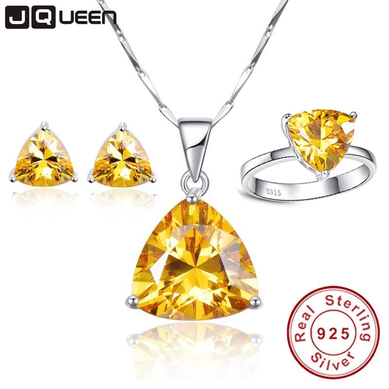 JQUEEN bijoux faisant 925 bijoux en argent Sterling ensemble Triangle Citrine naturel bijoux ensembles avec boîte à bijoux