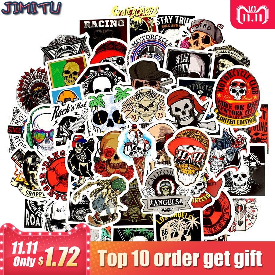50 Pcs Punk Skeleton Sticker Graffiti Skull Rock Motorcycle Stickers To Diy Scrapbooking Laptop Skateboard Suitcase Guitar Car In Stickers