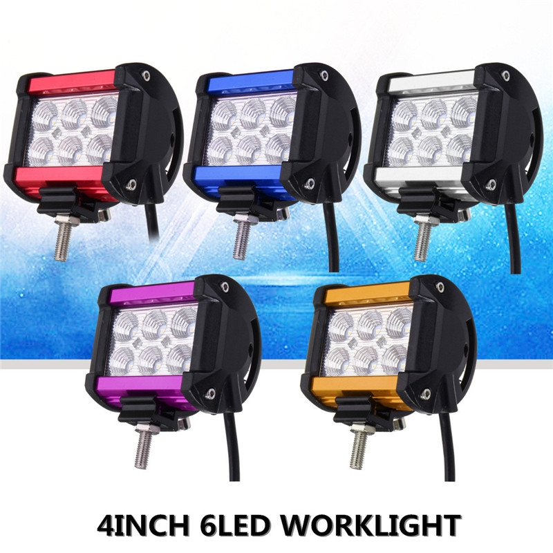 4 Inch 18W 6 LED Work Light Bar Flood Lamp Driving Offroad LED Work Lights Waterproof For Car Motorcycle Boat SUV ATV DC12V