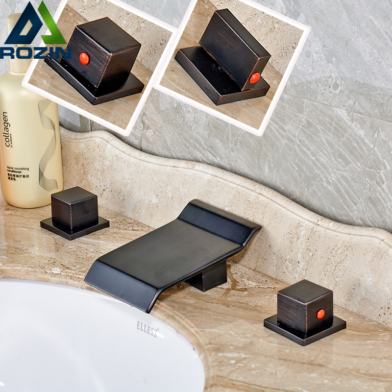 New Design Double Square Handle Bathroom Basin Faucet Waterfall Bath Spout Hot and Cold Washing Taps Oil Rubbed Bronze Finish pastoralism and agriculture pennar basin india