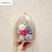 BEARBERRY 2017 high quality women bottle shaped evening bags handmade flowers mini clutch wallets dinner bags with 2 chain MN602