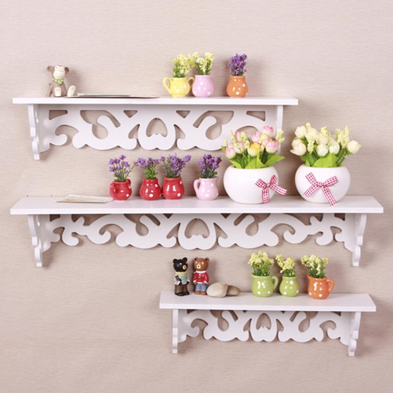 3 Shelf Carved Hollow Wooden Wall Mounted Shelf Display Hanging Rack Storage Punch Free Wall Hanger Wall Partition Decoration