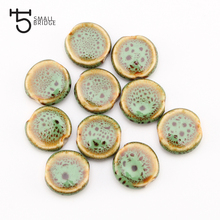 14mmFlower Glazed Round Flat Ceramic Bead For Jewelry Making Bracelet DIY Accessory Perles Loose Spacer Porcelain Wholesale