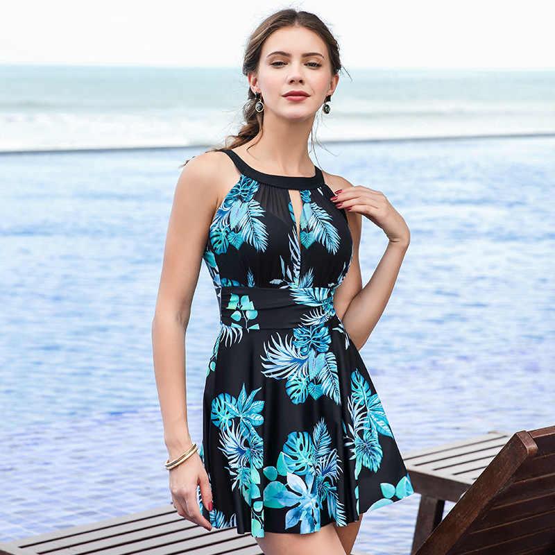 98640ed5d8 Flower One Piece Big Swimsuit Dress Straight Skirt High Waist Swimwear  Women Monokini Set M Neckline