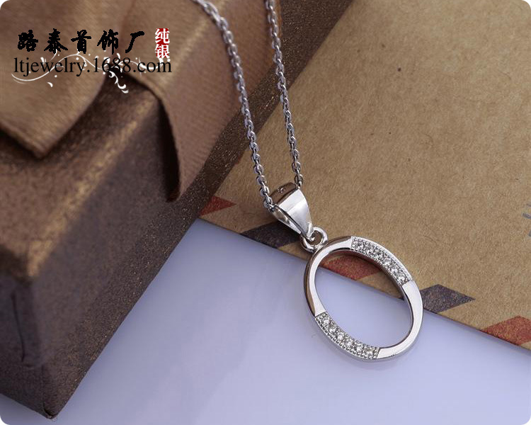 BLAL015 Zircon silver Letter O pendants necklaces chains silver Jewelry free shipping