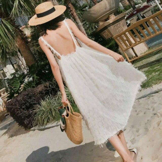 63bcabbc3 Verano blanco vestido largo mujer borla Correa vestidos sin espalda dulce  elegante luna de miel playa
