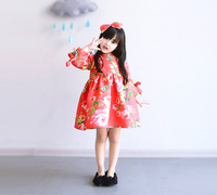 Spring Autumn Ball Gown Kids Dresses 2016 Baby Girls Flower Floral Bow Clothes Children Fashion Korean