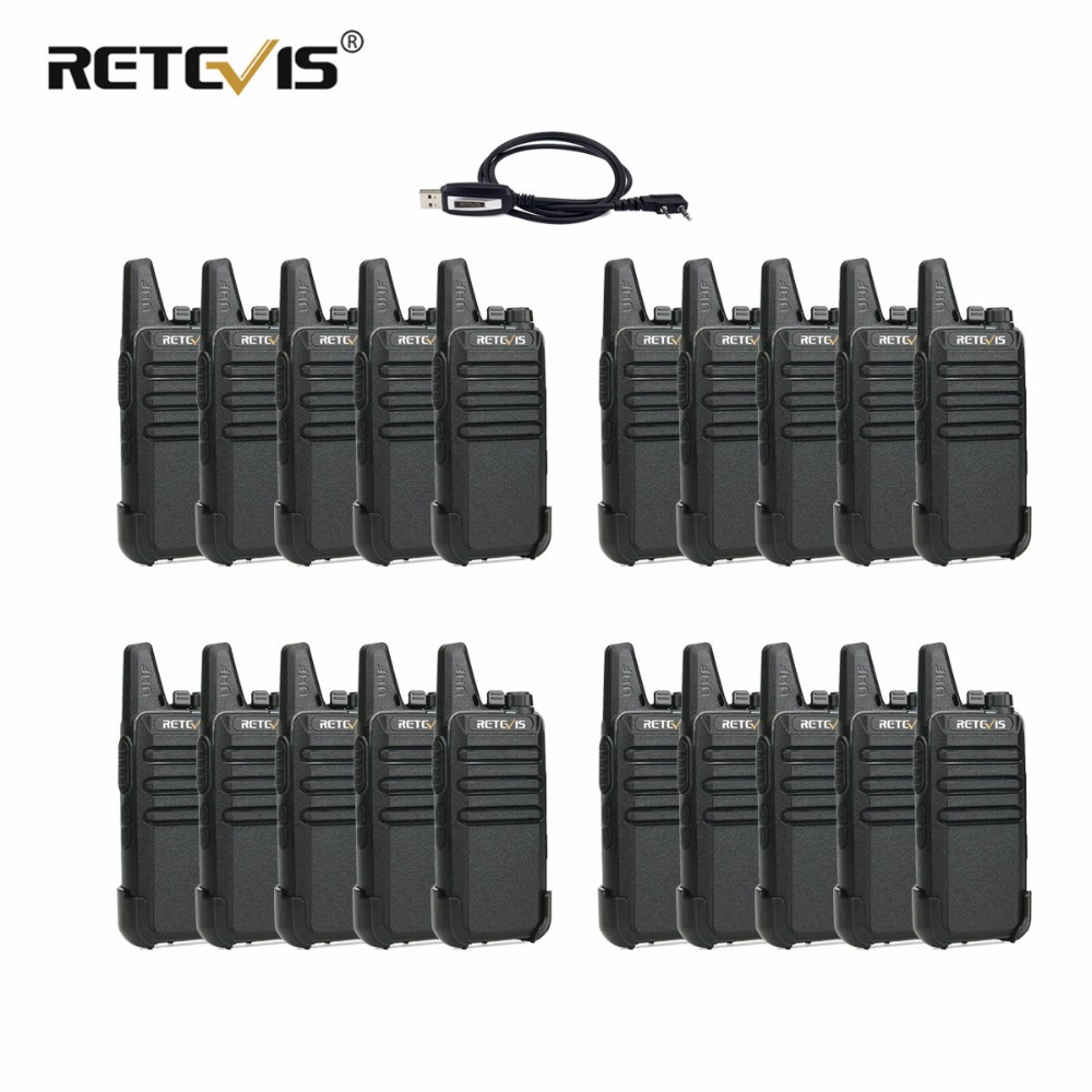 20pcs Retevis RT22 Walkie Talkie 2W UHF 400 480MHz VOX Hands free Walkie Talkie Portable Two Way Radio Communication Equipment