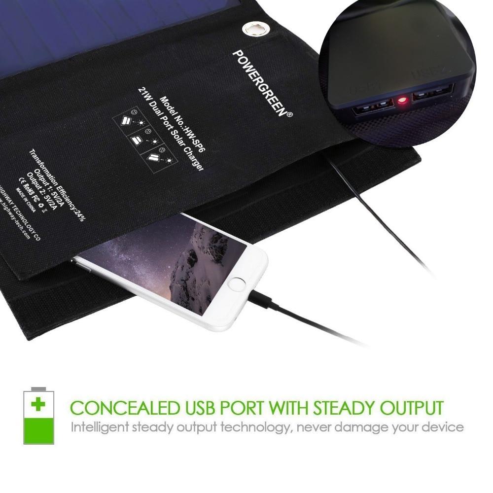 PowerGreen fällbar 21W soluppladdare, 2-port USB-laddare Solpanel - Reservdelar och tillbehör för mobiltelefoner - Foto 4