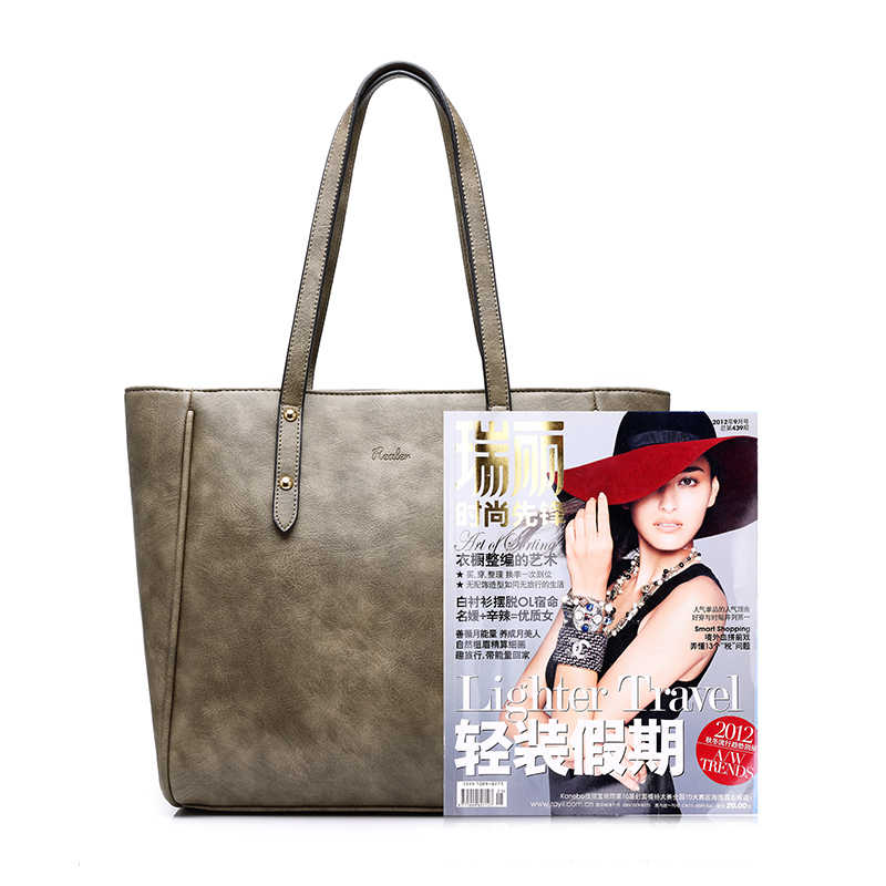 ... REALER женская сумка через плечо 3 комплекта искусственная кожа  Повседневная сумка большие Женские однотонные сумки + ... ab6426c2c29