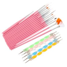 цена на Nail Brush Art Brushes Set 20Pcs Design Diy Nail Dotting Tools Professional Nail Art Painting Pen Nail Brushes