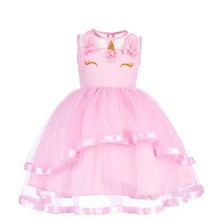 Flower Unicorn Princess Dress Girls Wedding Sleeveless Cute Fancy up Kids Birthday Clothes for Photo Shoot