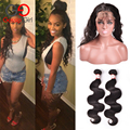 Gossip Girl 360 Lace Frontal With Bundle Pre Plucked 7A Brazilian Virgin Hair Body Wave Natural Hairline 360 Lace Virgin Hair