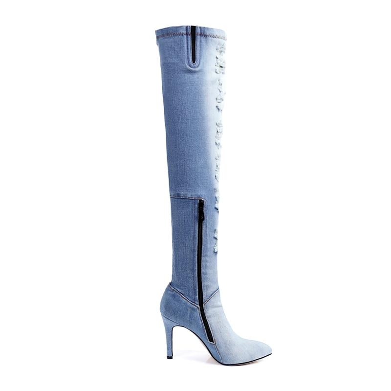 separation shoes ba60f 1298b Nuovo Taglio Alti Stivali Il Kcenid A Ginocchio Autunno Moda out Light  Denim Jeans Donna Scarpe Blue Blu Tacchi ...