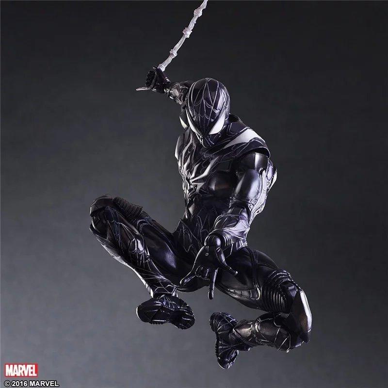 PLAY ARTS 27cm Black Spider Man Darkness Spiderman Action Figure Model Toys