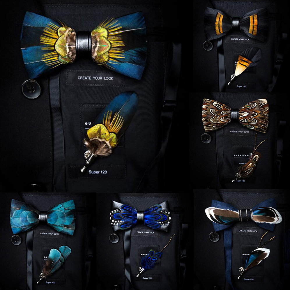 GUSLESON Exquisite Hand Made Feather Bow Tie Brooch Pin Set With Gift Box Pre-tied Men Tie Bowtie For Wedding Party