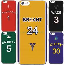 For IPhone7 7Plus 4 5S SE 6 6S Case For NBA Star Kobe Curry Rose Wade Jersey Transparent Silicone soft slim Tpu Phone Cover