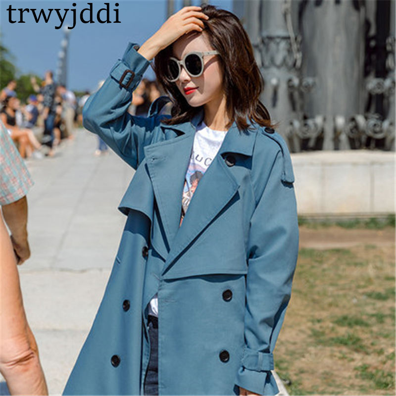 Coats Outerwear Windbreaker Spring Loose Long-Section Autumn Korean Casual Fashion Ladies