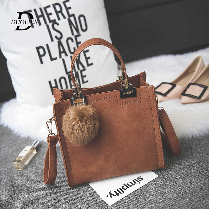 Designer Hangbags Women High Quality PU Leather Hairball handbag Lady's Retro Shoulder Messenger Bag Luxury Bags For Women Tote