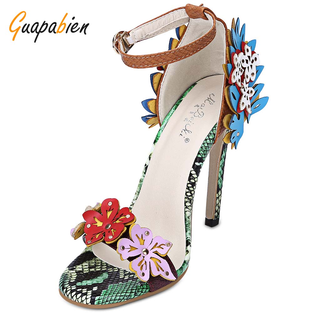 Guapabien Trendy Open Toe Floral Applique Ankle Strap Python Sandals Thin High Heel Women Shoes 2017 New Summer Gladiator Shoes women summer newest high heel sandals ankle strap super high thin heels cutouts open toe women shoes casual shoes blue