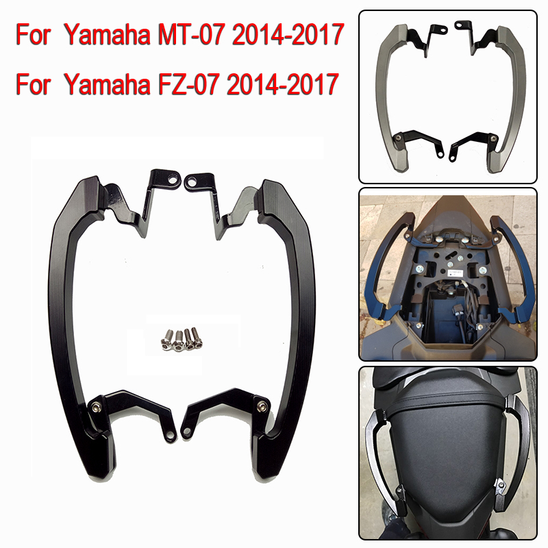 MT07 FZ07 14-17 Rear Seat Grab Handle Bars Pillion Passenger Grab Rail Handle For Yamaha MT-07 FZ 07 MT 07 2014 2015 2016 2017 motoo new rear seat pillion passenger grab high quality rear grab bars rail handle for yamaha mt07 fz07 mt 07 fz 07 2014 16