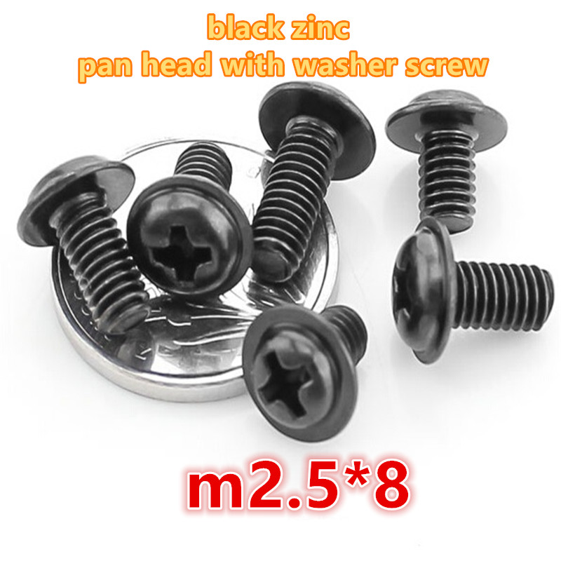 1000pcs m2.5*8 carbon steel with black zinc plated phillip pan / round head with washer electronic screw computer screw