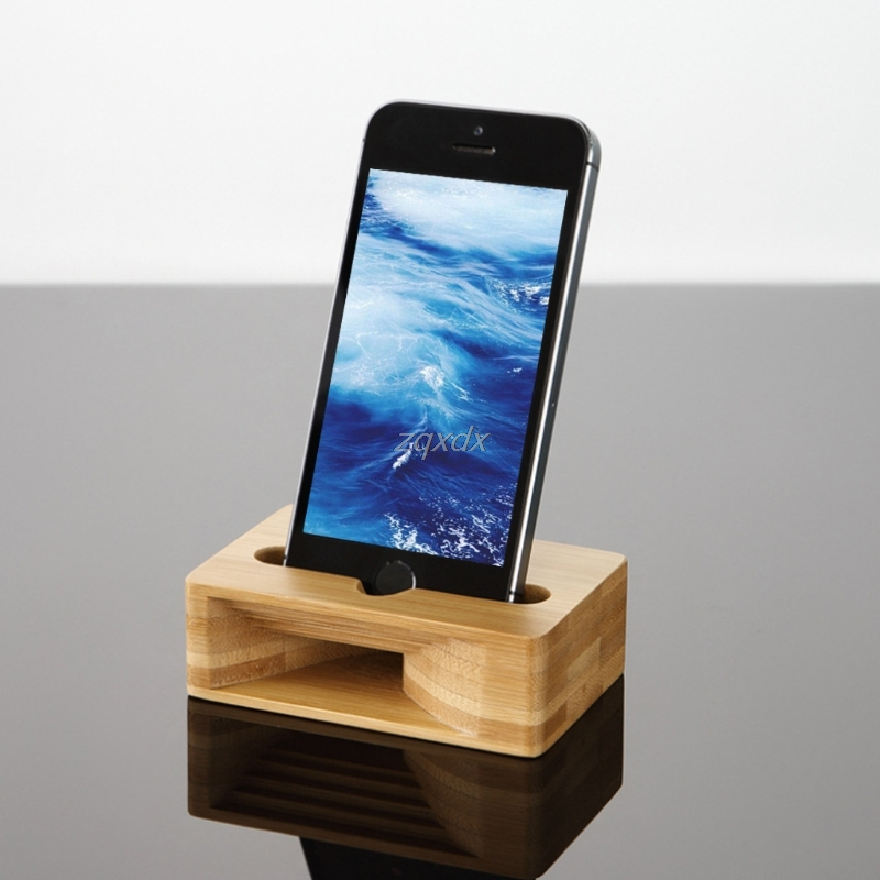 Phone Sound Amplifier Universal Bamboo Mobile Phone Holder Stand Cellphone Wood Loudspeaker Holder June Dropship