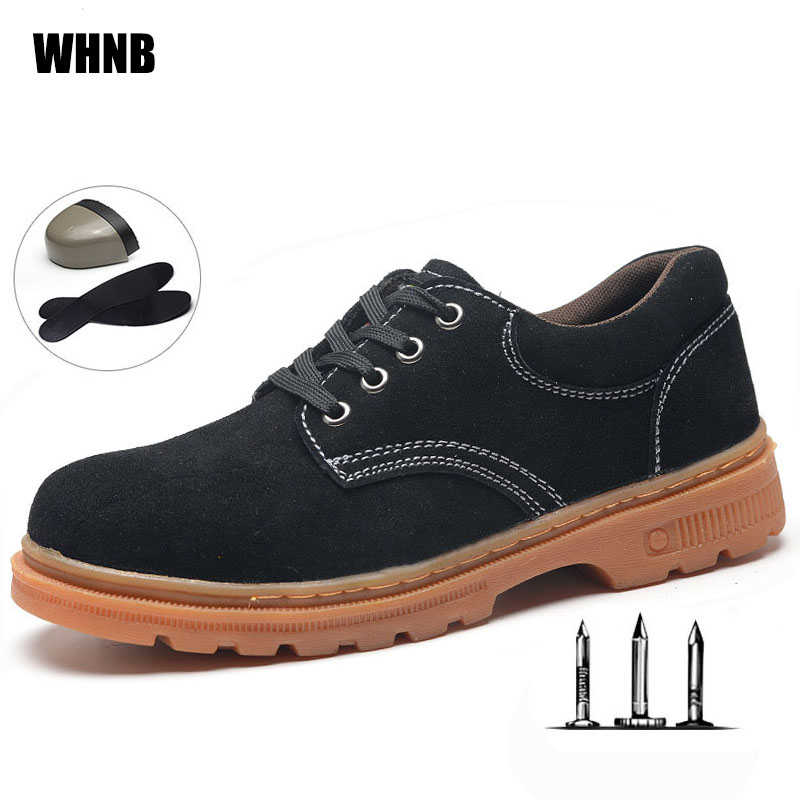 New Men Work Boots High Quality Anti-mite Puncture Protective Safety Shoes Fashion Beef Bottom Flour Leather Fabric Hiking Shoes