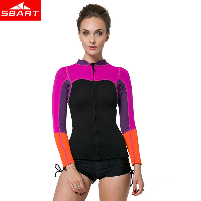 SBART 2MM Neoprene Wetsuit në krye me mëngë të gjata dielli Sunarcreen Spearfishing Wetsuit Gratë Surfing rroba banje Scuba Diving xhaketë xhaketë N