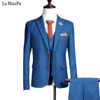 Jacket Pants Vest New Fashion Male Singer Men Suit Spring Autumn Blue Casual Slim Fit