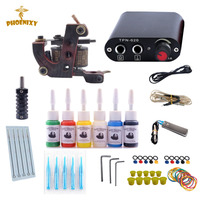 Tattoo Kit 6 Color Tattoo Ink Set Coil Tattoo Needles Guns Machine Power Supply Set Beginner Permanent Makeup Tattoo kit set