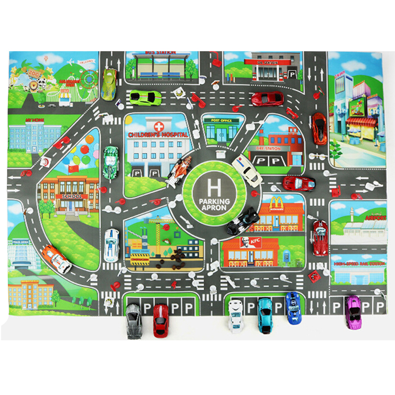New 83*58CM Children DIY Car Parking Map Toys Baby Climbing Playing Mats Kids Toys City Parking Lot Roadmap Map English Version