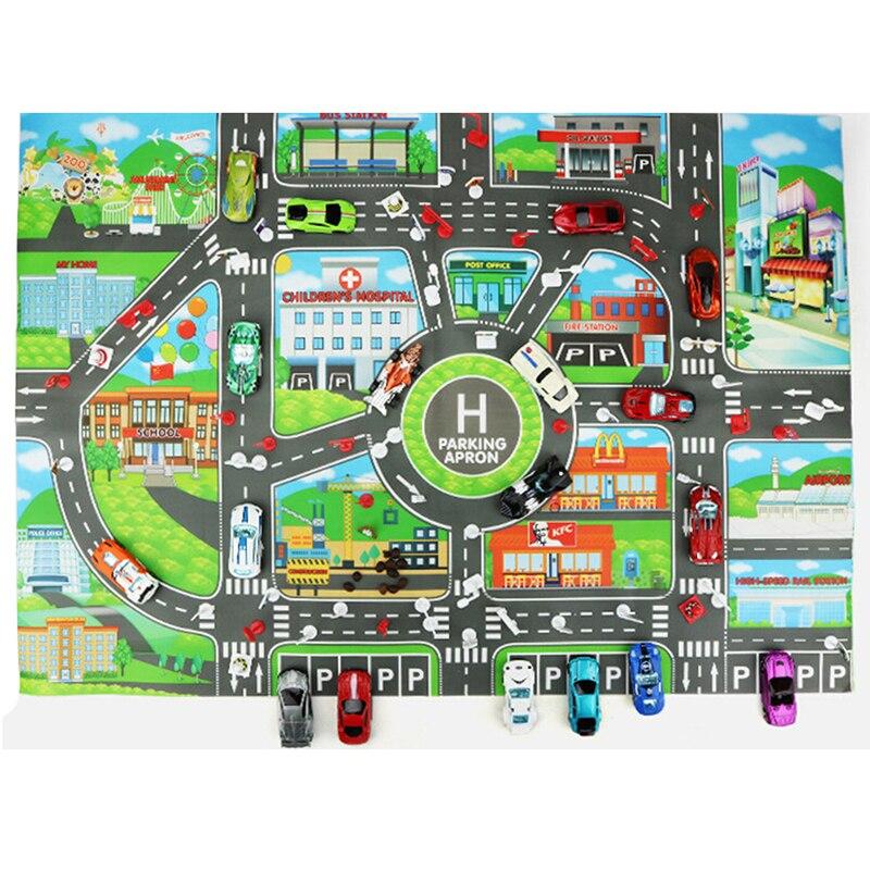 New 83*58CM Children DIY Car Parking Map Toys Baby Climbing Playing Mats Kids Toys City Parking Lot Roadmap Map English Version