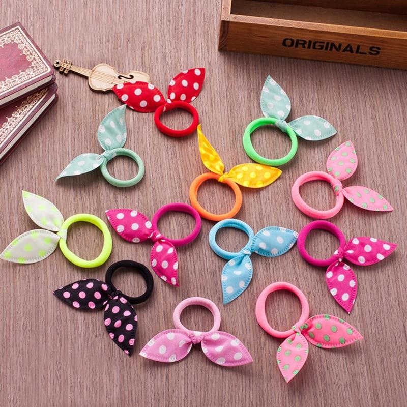 Lot 10Pcs Random Style Rabbit Ears Hair Band Children Hair Accessories Scrunchies Girl Rubber Elastic Hair Band For Women
