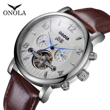 High-quality men's mechanical Wristwatch business leisure leather belt automatic mechanical watches ONOLA Brand