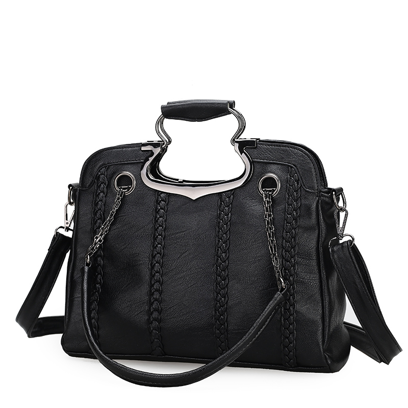 ФОТО The European and American style PU women's handbag Temperament joker Ms. vintage bag Knit lines pure color shoulder bag