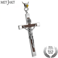 MetJakt Natural Red Sandalwood Cross Pendant & Crucified Jesus Solid 925 Sterling Silver Necklace for Unisex Vintage Jewelry