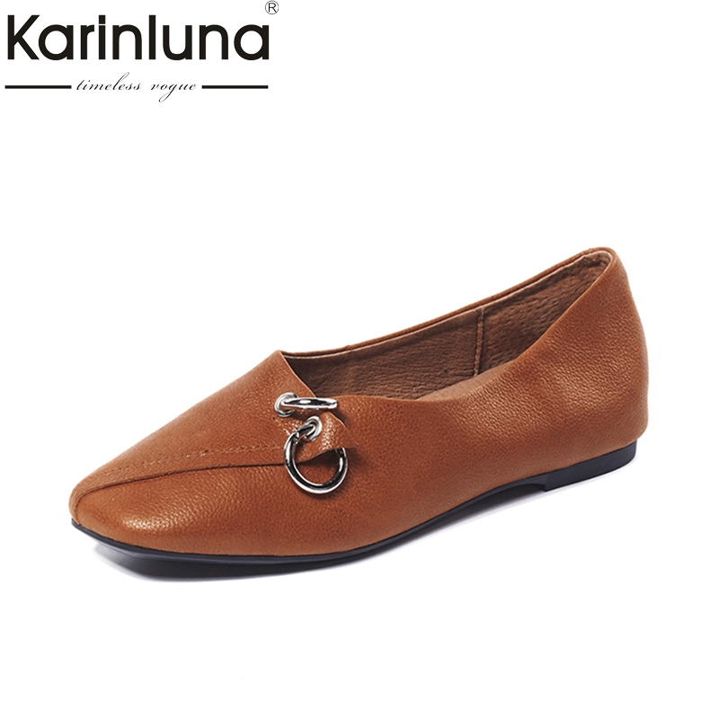 KarinLuna hot sale genuine leather large size 33-40 Flats Slip On Comfortable Woman Shoes Woman buckle boat shoes women fashion women shoes woman flats high quality comfortable pointed toe rubber women sweet flats hot sale shoes size 35 40