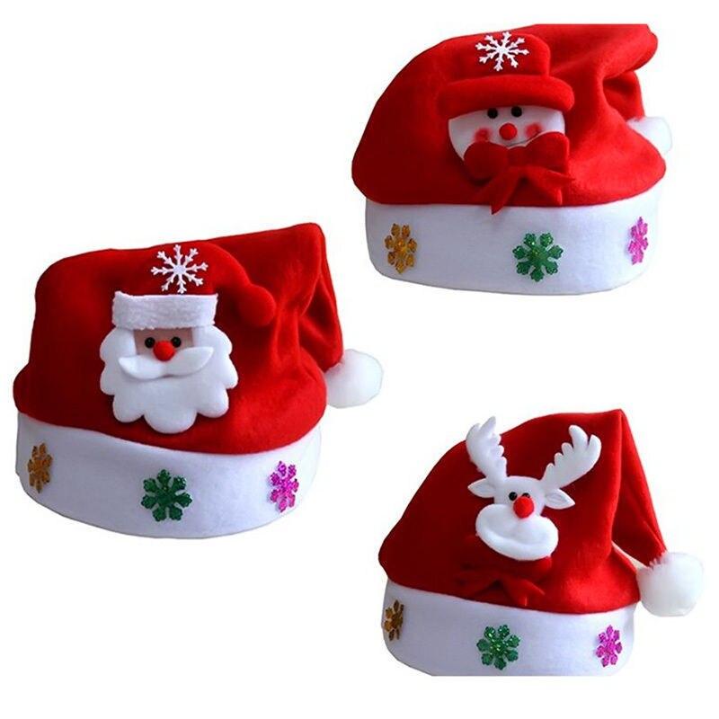 цена на Kids  Adult  LED Christmas Hat Santa Claus Reindeer Snowman Xmas Gifts Cap Beanies Hats
