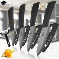Home Kitchen Ceramic Knife Set 3 4 5 6 Inch Zirconia Black Blade Paring Fruit Vege
